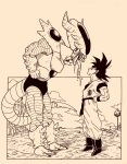 2boys clouds dougi dragon_ball dragon_ball_z eye_contact frieza hands_on_hips height_difference highres lee_(dragon_garou) long_tongue looking_at_another male_focus monochrome multiple_boys muscle parody saliva son_gokuu spikes tail tongue tongue_out tree wristband