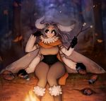 1girl absurdres antennae artist_name autumn autumn_leaves big_eyes black_sclera blurry blurry_background boots branch caterpillar commentary english_commentary fire food forest fur-trimmed_boots fur_collar fur_trim grey_hair highres long_hair looking_away marshmallow matilda_fiship monster_girl moth_girl moth_wings mother_lumi multiple_arms nature night orange_scarf original pants petting scarf sitting smile solo thick_eyebrows tree white_eyes wind wings