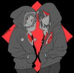 2girls argyle argyle_background black_eyes black_hair diamond_(shape) eyebrows_visible_through_hair eyes_visible_through_hair face-to-face grey_eyes greyscale hands_in_pockets happy hood hood_up hooded_jacket jacket kazaya kill_la_kill looking_at_viewer mankanshoku_mako matoi_ryuuko monochrome multicolored_hair multiple_girls pom_pom_(clothes) red_background red_pupils red_theme redhead senketsu short_hair simple_background smile spot_color streaked_hair twitter_username two-tone_background upper_body zipper
