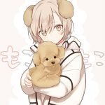 androgynous animal animal_ears bangs coat dog dog_ears highres holding holding_stuffed_animal long_sleeves looking_at_viewer original poodle sama short_hair silver_hair stuffed_animal stuffed_toy turtleneck upper_body