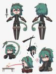 /\/\/\ 1girl :d beads book braid cecile_(porforever) chameleon chameleon_tail chameleon_tongue character_sheet chibi chromatic_aberration commentary dagger english_commentary eyebrows_visible_through_hair food green_hair grey_background grin hair_beads hair_between_eyes hair_ornament hairband heart highres long_tongue looking_at_viewer medium_hair multiple_views open_mouth original porforever prehensile_tail red_eyes sandwich side_braid simple_background single_braid smile spoken_heart striped_tail table tail tongue very_long_tongue weapon