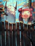 1girl :d arms_up black_gloves commentary creature day disembodied_head dullahan english_commentary fence forest gloves highres holding_head horns long_hair looking_at_viewer nature open_mouth original outdoors porforever red_eyes redhead smile solo tree tree_shade twintails wooden_fence