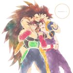 4boys ;d absurdly_long_hair anger_vein angry annoyed armor bandana bardock black_eyes black_hair black_legwear blush brothers clenched_teeth copyright_name dougi dragon_ball dragon_ball_z facial_scar father_and_son feet_out_of_frame fingernails furrowed_eyebrows grandfather_and_grandson hands_clasped happy highres hug hug_from_behind interlocked_fingers kakipiinu long_hair looking_at_another looking_up male_focus multiple_boys nervous one_eye_closed open_mouth own_hands_together raditz red_bandana red_headwear scar scar_on_cheek siblings simple_background smile son_gohan son_gokuu standing sweatdrop teeth uncle_and_nephew very_long_hair white_background wristband