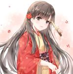 1girl bangs black_hair brown_kimono closed_fan commentary_request eyebrows_visible_through_hair fan floral_background floral_print flower folding_fan grey_eyes hair_flower hair_ornament hand_up holding holding_fan idolmaster idolmaster_cinderella_girls japanese_clothes kimono kobayakawa_sae long_hair long_sleeves looking_at_viewer obi open_clothes parted_lips pf print_kimono red_flower sash smile solo very_long_hair wide_sleeves