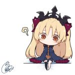 1girl ? bangs barefoot beni_shake black_legwear blonde_hair blue_cloak blue_dress blush bow brown_eyes chibi cloak closed_mouth commentary_request dress earrings ereshkigal_(fate/grand_order) eyebrows_visible_through_hair fate/grand_order fate_(series) full_body fur-trimmed_cloak fur_trim hair_bow infinity jewelry long_hair looking_at_viewer no_shoes parted_bangs red_bow signature single_thighhigh sitting solo thigh-highs tiara two_side_up very_long_hair white_background