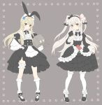 2girls :o alternate_costume amatsukaze_(kantai_collection) anchor bangs bare_shoulders black_dress black_footwear black_hairband blonde_hair blush bow brown_background detached_sleeves diomedea dress flower frilled_dress frilled_legwear frills full_body hair_flower hair_ornament hair_tubes hairband highres holding innertube kadokawa_games kantai_collection kneehighs long_hair long_sleeves moe multiple_girls rensouhou-chan shimakaze_(kantai_collection) shiosoda silver_hair simple_background standing thigh-highs thigh_strap two_side_up white_legwear