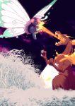 butterfree charizard gigantamax gigantamax_butterfree gigantamax_charizard godzilla highres inktober kaijuu mothra pokemon pokemon_(game) pokemon_swsh