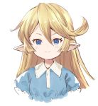 >:) 1girl bangs blonde_hair blue_eyes blue_shirt charlotta_fenia closed_mouth collared_shirt cropped_torso granblue_fantasy hair_between_eyes harvin long_hair looking_at_viewer meito_(maze) pointy_ears puffy_short_sleeves puffy_sleeves shirt short_sleeves simple_background smile solo upper_body v-shaped_eyebrows white_background