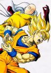 2boys bald blonde_hair blue_eyes cape clenched_hand crossover dougi dragon_ball dragon_ball_z expressionless gloves highres lee_(dragon_garou) male_focus marker_(medium) multiple_boys muscle one-punch_man open_mouth red_gloves saitama_(one-punch_man) serious son_gokuu super_saiyan traditional_media wristband