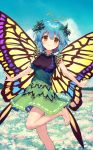1girl ainy77 antennae bangs bare_arms bare_shoulders barefoot black_shirt blue_hair blue_sky blush breasts brown_eyes butterfly_wings clouds day eternity_larva eyebrows_visible_through_hair feet_out_of_frame field flower flower_field green_skirt hair_between_eyes leaf leg_up looking_at_viewer medium_breasts miniskirt outdoors shirt short_hair skirt sky sleeveless sleeveless_shirt smile solo standing standing_on_one_leg touhou touhou_cannonball wings