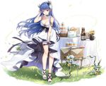 1girl :d alternate_costume armlet azur_lane bangs blue_eyes blue_hair blush breasts cake choker dress eyebrows_visible_through_hair feathers floating_hair food full_body gold hair_feathers hair_tucking heterochromia high_heels horns ibuki_(azur_lane) ibuki_(snow_on_the_wind)_(azur_lane) lace lace_choker large_breasts leaning_forward long_hair looking_at_viewer maya_g official_art open_mouth red_eyes sapphire_(gemstone) sideboob sidelocks solo strapless strapless_dress table tachi-e transparent_background white_dress wind wrist_wrap