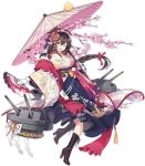 1girl ;d alternate_costume azur_lane bangs blush boots braid breasts brown_footwear brown_hair cannon cherry_blossoms closed_mouth criin cross-laced_footwear eyebrows_visible_through_hair full_body gloves hair_between_eyes hair_ornament hair_ribbon high_heel_boots high_heels holding holding_umbrella horns lace-up_boots long_hair long_sleeves looking_at_viewer medium_breasts mikasa_(azur_lane) official_art one_eye_closed oriental_umbrella pink_ribbon ribbon rigging side_braid single_braid smile solo star star-shaped_pupils symbol-shaped_pupils turret umbrella watermark white_gloves wide_sleeves