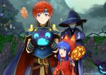 1girl 2boys animal_hood beard belt blue_eyes blue_hair candy cat_hood closed_eyes closed_mouth dated facial_hair father_and_daughter fire_emblem fire_emblem:_the_binding_blade fire_emblem:_the_blazing_blade fire_emblem_heroes food gloves hat headband hector_(fire_emblem) holding holding_lollipop hood jack-o'-lantern lilina_(fire_emblem) lollipop multiple_boys open_mouth redhead roy_(fire_emblem) shoochiku_bai short_hair smile twitter_username witch_hat
