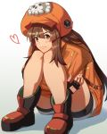 1girl backpack bag blush boots brown_hair commentary_request crossed_arms fingerless_gloves full_body gloves guilty_gear guilty_gear_2020 hat heart highres leg_hug looking_at_viewer may_(guilty_gear) orange_eyes orange_headwear orange_hoodie orange_shirt pirate_hat shirt sitting skull_and_crossbones solo tsuki_mawari_randolph