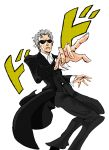 1boy araki_hirohiko_(style) black_coat coat crossover doctor_who highres jojo_no_kimyou_na_bouken jojo_pose meme pose shirt sunglasses text_focus the_doctor twelfth_doctor white_hair