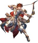 1boy alternate_costume armor armored_boots arrow boots bow_(weapon) brown_hair cape fingerless_gloves fire_emblem fire_emblem:_genealogy_of_the_holy_war fire_emblem:_thracia_776 fire_emblem_heroes full_body gloves highres hino_shinnosuke leif_(fire_emblem) male_focus official_art orange_eyes quiver solo teeth transparent_background weapon
