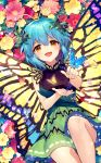 1girl :d ainy77 antennae bangs bare_arms bare_shoulders black_shirt blue_hair blush brown_eyes bug butterfly butterfly_wings eternity_larva eyebrows_visible_through_hair feet_out_of_frame flower green_skirt hair_between_eyes insect leaf looking_at_viewer miniskirt open_mouth pink_flower red_flower shirt short_hair skirt sleeveless sleeveless_shirt smile solo touhou touhou_cannonball wings yellow_flower