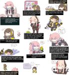 ... 5girls ? absurdres alcohol anger_vein anti-rain_(girls_frontline) armband backpack bag bird black_gloves black_jacket blonde_hair blue_eyes blush bone bottle brown_hair chibi english_commentary english_text eyebrows_visible_through_hair eyepatch fingerless_gloves flower girls_frontline gloves green_hair headgear headphones heterochromia highres holding holding_bottle jacket long_hair long_sleeves lying m16a1_(girls_frontline) m4_sopmod_ii_(girls_frontline) m4a1_(girls_frontline) multicolored_hair multiple_girls necktie o_o on_back open_mouth parrot pink_hair purple_hair red_eyes ro635_(girls_frontline) skull speech_bubble spoken_ellipsis st_ar-15_(girls_frontline) streaked_hair white_background white_hair yellow_eyes yuutama2804