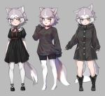1girl :3 :d alternate_costume animal_ear_fluff animal_ears black_coat black_dress black_footwear black_shorts black_sweater blue_eyes boots coat collar cross-laced_footwear dog_(mixed_breed)_(kemono_friends) dog_ears dog_tail dress eyebrows_visible_through_hair full_body grey_background grey_hair heterochromia kemono_friends long_sleeves looking_at_viewer multicolored_hair multiple_views no_legwear no_shoes nyifu open_mouth pantyhose puffy_short_sleeves puffy_sleeves shoes short_hair short_shorts short_sleeves shorts simple_background sleeves_past_fingers sleeves_past_wrists smile sweater tail two-tone_hair white_hair white_legwear yellow_eyes