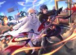 2boys battle black_hair blonde_hair blue_sky boots cape chariot.f checkered copyright_request day diffraction_spikes glint gun jacket long_sleeves male_focus motion_blur multiple_boys official_art outdoors pants road_sign sign sky smoke sword weapon white_jacket white_pants yellow_eyes