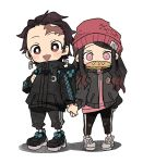 :d alternate_costume arm_at_side backpack bag beanie black_footwear black_hair black_jacket black_pants brown_eyes checkered chibi contemporary crescent dododov2 earrings facial_scar full_body gradient_hair hair_slicked_back hat holding_hands holding_strap jacket jewelry kamado_nezuko kamado_tanjirou kimetsu_no_yaiba long_hair long_sleeves looking_at_viewer mouth_hold multicolored_hair open_mouth pants pink_eyes red_headwear scar shoes side-by-side simple_background smile standing track_pants white_background white_footwear