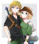 1boy 1girl alternate_costume atsumi_yoshioka bag black_shirt blonde_hair blue_eyes bracelet brown_headwear buckle casual closed_mouth collarbone collared_shirt contemporary fedora green_eyes green_pants green_shirt hair_ornament hairclip hand_in_pocket hat jewelry link looking_at_viewer pants polka_dot polka_dot_background princess_zelda sheikah_slate shirt short_hair short_sleeves sidelocks single_bare_shoulder smile sweat sword the_legend_of_zelda the_legend_of_zelda:_breath_of_the_wild the_legend_of_zelda:_breath_of_the_wild_2 transparent_bag weapon weapon_on_back