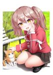 1girl :3 :d animal bangs bench brown_hair cat day eyebrows_visible_through_hair fang full_body grass highres japanese_clothes kantai_collection kariginu kirigakure_(kirigakure_tantei_jimusho) loafers long_sleeves looking_at_viewer magatama open_mouth orange_eyes outdoors park_bench petting pleated_skirt ryuujou_(kantai_collection) shoes skirt smile solo squatting twintails
