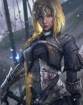 1girl arm_at_side armor armored_dress artist_name battlefield blonde_hair blood bloody_clothes blurry blurry_background braid bug butterfly fate/apocrypha fate_(series) gauntlets glowing glowing_butterfly highres insect jeanne_d'arc_(fate) jeanne_d'arc_(fate)_(all) looking_at_viewer realistic serious solo trungbui42 upper_body violet_eyes