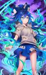 1girl aura bangle bangs blue_bow blue_eyes blue_hair blue_skirt bow bracelet clouds debt drawstring feet_out_of_frame grey_hoodie hair_between_eyes hair_bow hood hoodie jewelry long_hair looking_at_viewer miniskirt parted_lips purple_sky shiba_0 short_sleeves skirt solo thighs touhou touhou_cannonball very_long_hair yorigami_shion
