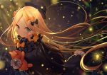 1girl abigail_williams_(fate/grand_order) bangs black_bow black_dress black_headwear blonde_hair blue_eyes blush bow closed_mouth dress eyebrows_visible_through_hair fate/grand_order fate_(series) forehead hair_bow hat long_hair long_sleeves looking_at_viewer object_hug orange_bow parted_bangs polka_dot polka_dot_bow ribbed_dress sleeves_past_fingers sleeves_past_wrists smile solo stuffed_animal stuffed_toy teddy_bear very_long_hair yano_mitsuki