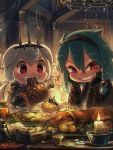 2girls animal_ears armor artist_name bangs beads black_gloves boned_meat bracer braid bread candle cecile_(porforever) chandelier chibi clenched_teeth coin commentary dog_ears dog_girl dog_tail eating english_commentary food food_on_face gloves green_hair grin hair_beads hair_between_eyes hair_ornament hairband highres indoors long_hair looking_at_viewer meat multiple_girls original porforever red_eyes rope sharp_teeth short_hair side_braid single_braid slit_pupils smile symbol_commentary tail tavern teeth v-shaped_eyebrows white_hair