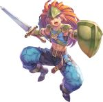 1boy abs armor artist_request belt blue_eyes blue_pants boots bracer brown_belt brown_footwear brown_hair duran_(seiken_densetsu_3) full_body helmet holding holding_shield holding_sword holding_weapon long_hair looking_at_viewer male_focus official_art open_mouth pants seiken_densetsu seiken_densetsu_3 shield shoulder_armor shouting sleeveless solo sword transparent_background weapon
