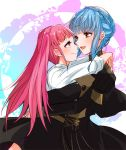 2girls blue_hair braid brown_eyes closed_mouth crown_braid fire_emblem fire_emblem:_three_houses from_side garreg_mach_monastery_uniform hilda_valentine_goneril hug long_hair long_sleeves marianne_von_edmund multiple_girls open_mouth pink_eyes pink_hair smile twintails twitter_username uniform yutohiroya