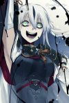 1girl black_blood black_hair breasts crazy_eyes crazy_smile dated detached_sleeves fate/grand_order fate_(series) graphite_(medium) green_eyes highres long_hair medium_breasts multicolored_hair nagao_kagetora_(fate) traditional_media twitter_username two-tone_hair white_hair