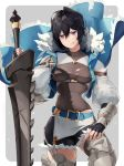 1girl armored_boots belt black_gloves black_hair black_shorts blue_belt blue_vest boots breasts celliera cowboy_shot dragalia_lost fingerless_gloves fur-trimmed_vest garter_straps gloves grey_legwear grey_shirt hair_between_eyes highres kodamazon long_sleeves looking_at_viewer medium_breasts microskirt puffy_long_sleeves puffy_sleeves shirt short_shorts shorts skirt smile smirk solo sword thigh-highs thighhighs_under_boots torn_clothes torn_shirt vest violet_eyes weapon