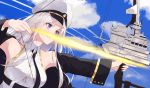 1girl absurdres armpits azur_lane bare_shoulders belt black_coat blue_sky bow bow_(weapon) breasts buttons clouds coat collared_shirt compound_bow day drawing_bow enterprise_(azur_lane) fuji_dorokai hat highres large_breasts long_hair long_sleeves looking_away military_hat necktie open_clothes open_coat peaked_cap shirt sidelocks sky sleeveless sleeveless_shirt smile solo violet_eyes weapon white_hair white_headwear white_shirt