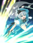 1girl blue_eyes bow commentary_request dress dual_wielding flower glowing hairband haniwa_(leaf_garden) highres holding holding_sword holding_weapon konpaku_youmu konpaku_youmu_(ghost) looking_at_viewer open_mouth perfect_cherry_blossom puffy_short_sleeves puffy_sleeves sheath shoes short_hair short_sleeves silver_hair solo sword touhou weapon