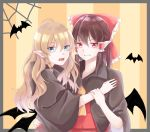2girls ahoge akatsuki_(osamaru36) alternate_eye_color bat bat_wings bite_mark black_border black_cape blonde_hair blue_eyes border bow brown_hair cape commentary_request cravat eyebrows_visible_through_hair fangs fingernails hair_between_eyes hair_bow hair_tubes hakurei_reimu halloween hand_on_another's_back hand_on_another's_chest kirisame_marisa long_hair looking_at_viewer multiple_girls open_mouth pointy_ears red_eyes red_nails red_skirt red_vest sharp_fingernails short_hair sidelocks silk skirt sneer spider_web striped striped_background teeth touhou upper_body vampire vertical-striped_background vertical_stripes very_long_hair vest wings wrist_grab yellow_background yellow_neckwear