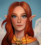 1girl blue_eyes blue_sky brown_hair clouds day freckles highres jenny_stout light_smile long_hair looking_at_viewer malon outdoors pointy_ears portrait sky smile solo the_legend_of_zelda the_legend_of_zelda:_ocarina_of_time upper_body
