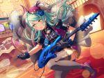 bang_dream! blush dress green_eyes green_hair guitar hikawa_sayo long_hair