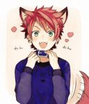 1boy :3 a3! animal_ears collar dog_ears dog_tail dogboy fangs green_eyes heart highres kurodeko looking_at_viewer male_focus nanao_taichi open_mouth redhead smile solo tail tail_wagging