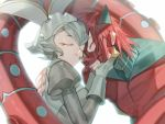 1boy 1girl animal_ears armor character_request closed_eyes gloves grey_gloves grey_hair headgear honey_dogs hug original parted_lips personification pokemon puffy_sleeves rabbit_ears redhead short_hair simple_background turtleneck white_background white_gloves