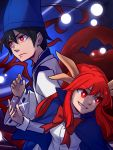 1boy 1girl bangs black_hair blue_capelet blue_headwear bow bowtie bright_pupils capelet closed_mouth commentary dual_persona eyebrows_visible_through_hair grin hat highres horns japanese_clothes long_hair long_sleeves red_bow red_eyes red_neckwear redhead shingyoku shingyoku_(male) shirt smile speckticuls tate_eboshi touhou touhou_(pc-98) v-shaped_eyebrows white_pupils white_shirt wide_sleeves