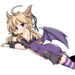 1girl ahoge bell belphe_(sennen_sensou_aigis) black_ribbon black_scrunchie blonde_hair dragon_horns dragon_wings horns long_hair looking_at_viewer low_twintails lying nemui_(nemui) on_stomach pointy_ears purple_legwear ribbon scrunchie sennen_sensou_aigis simple_background solo striped striped_legwear thigh-highs twintails violet_eyes wings wrist_scrunchie