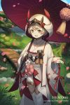 1girl :d animal artist_name bangs blush bridge bug character_request commentary day dragalia_lost dragonfly english_commentary eyebrows_behind_hair fish hentaki highres holding holding_umbrella insect japanese_clothes kimono koi long_sleeves looking_at_viewer obi open_mouth oriental_umbrella outdoors petals pond red_umbrella sash smile solo thigh-highs tree uchikake umbrella water watermark web_address white_kimono white_legwear wide_sleeves