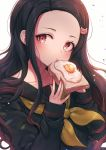 1girl bangs black_hair black_sailor_collar black_shirt brown_hair brown_neckwear cat_hair_ornament collarbone commentary eating fingernails food forehead fried_egg fried_egg_on_toast gradient_hair hair_ornament holding holding_food kamado_nezuko kimetsu_no_yaiba long_hair long_sleeves looking_at_viewer multicolored_hair neckerchief ozzingo parted_bangs sailor_collar school_uniform serafuku shirt simple_background sleeves_past_wrists solo symbol_commentary toast upper_body white_background