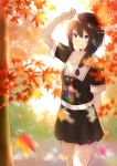 1girl absurdres ahoge arm_up autumn autumn_leaves bangs bare_legs black_serafuku black_skirt blue_eyes blurry blush braid brown_hair closed_mouth cowboy_shot dated day depth_of_field eyebrows_visible_through_hair hair_between_eyes hair_flaps hair_ornament hair_over_shoulder highres kantai_collection long_hair looking_at_viewer necktie outdoors pleated_skirt red_neckwear remodel_(kantai_collection) sailor_collar school_uniform serafuku shigure_(kantai_collection) shiina_aoi short_sleeves signature single_braid skirt smile solo sunlight twitter_username white_sailor_collar