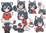 +_+ 1girl animal_ear_fluff animal_ears ball black_gloves black_hair black_legwear blue_eyes blush bow cat_ears cat_girl cat_tail cat_teaser collar commentary_request drooling extra_ears eyebrows_visible_through_hair fangs gloves hands_on_lap highres kaban_(kemono_friends) kemono_friends kemonomimi_mode multiple_views nekonyan_(inaba31415) no_hat no_headwear open_mouth pantyhose paw_gloves paws purple_collar red_bow red_shirt shirt short_hair short_sleeves shorts sitting solo sweatdrop t-shirt tail tail_bow translated wavy_mouth