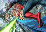 aircraft airplane battle beam bodysuit bridge cape car destruction drone explosion ground_vehicle helmet lightning marvel mask motor_vehicle murata_yuusuke mysterio official_art silk spider-man spider-man:_far_from_home spider-man_(series) spider_web spider_web_print superhero tiptoes twister water