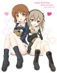 2girls :d bangs black_bow black_hairband black_jacket black_legwear blush boko_(girls_und_panzer) boots bow breasts brown_eyes brown_footwear brown_hair character_name collarbone commentary_request cross-laced_footwear dated eyebrows_visible_through_hair flipper girls_und_panzer grey_skirt grey_vest hair_between_eyes hair_bow hairband happy_birthday heart highres jacket knees_up lace-up_boots long_hair long_sleeves medium_breasts military military_uniform multiple_girls nishizumi_miho object_hug one_side_up ooarai_military_uniform open_mouth pleated_skirt selection_university_military_uniform shimada_arisu sitting skirt smile socks star starry_background stuffed_animal stuffed_toy teddy_bear uniform vest white_skirt